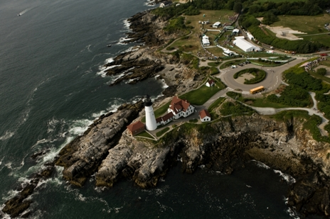 Aerial view of finish at TD Beach to Beacon 10K Road Race in Cape Elizabeth, Maine.