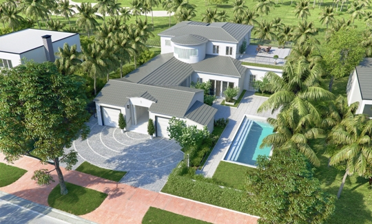 Rendering of 1940s Era Golf Course Home at 5951 Alton Road in Miami Beach being Redeveloped by Mile Marker Investments.