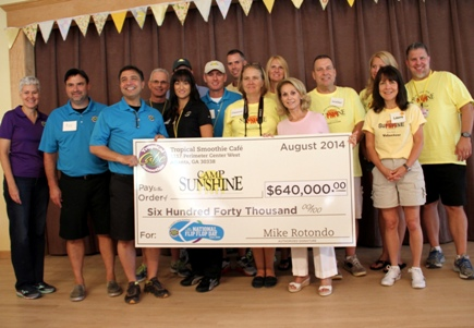 Tropical Smoothie Cafe donated $640,000 to Camp Sunshine as result of the chain's National Flip Flop Day Campaign.
