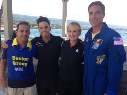 Dave McGillivray at 2014 Ironman World Championship press conference with fellow competitor Apollo Ohno, an Olympic speedskating medalist, Paula Newby-Fraser, an eight-time Ironman champion, and Astronaut Chris Cassidy.