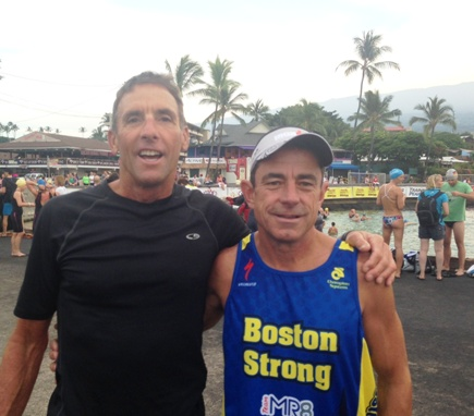 Dave McGillivray with fellow USA Triathlon Hall of Famer Dave Scott, a six-time winner of the Ironman World Championship, at the 2014 Ironman in Kona, Hawaii.