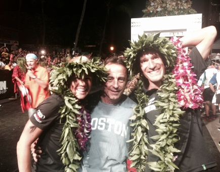 Dave McGillivray with 2014 Ironman World Championship winners Sebastian Kienle of Germany (right) and Mirinda Carfrae of Australia.