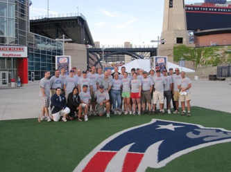 The DMSE team at Gillette Stadium in Foxborough, Mass. for the inaugural Harvard Pilgrim 10K Road Race.