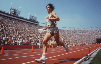 Joan Benoit Samuelson, winners of first Olympic women's marathon, appearing at Thanksgiving Day Feaster Five Road Race.