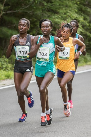The lead pack of women, led by Kenya's Mary Keitany, at the TD Beach to Beacon 10K in Cape Elizabeth.