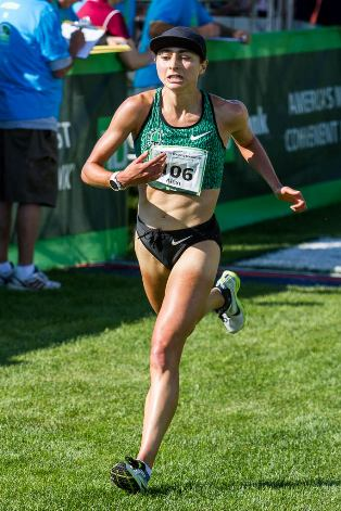 Alexi Pappas, American champion of the 2015 TD Beach to Beacon 10K. Kevin Morris photo.